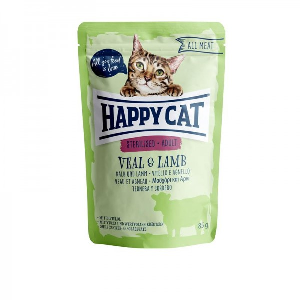 HappyCat All Meat Adult Sterilized Kalb & Lamm 24x85g
