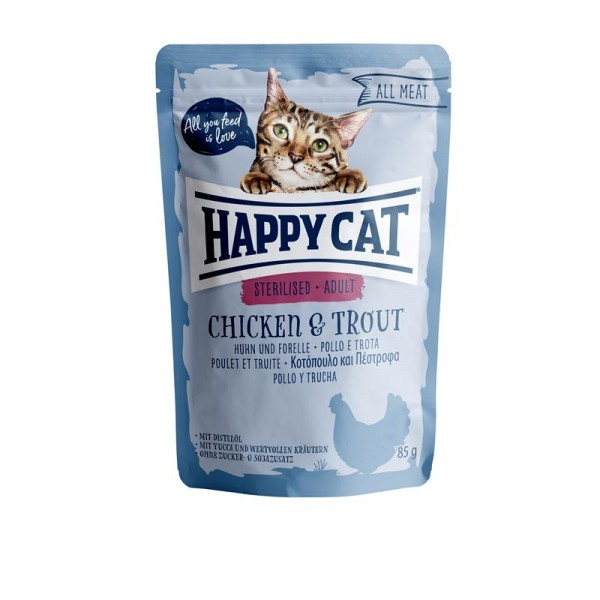 HappyCat All Meat Adult Sterilized Huhn & Forelle 24x85g