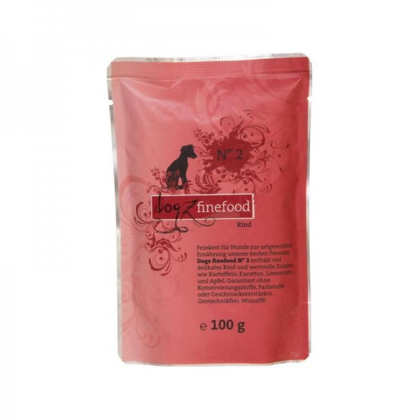 DogzFineFood Pouch No.2 Rind 100g