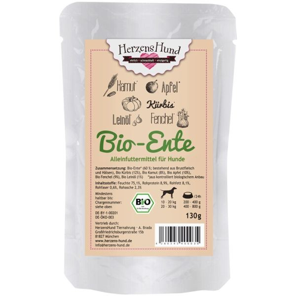 Herzenshund Bio-Ente mit Bio-Gemüse