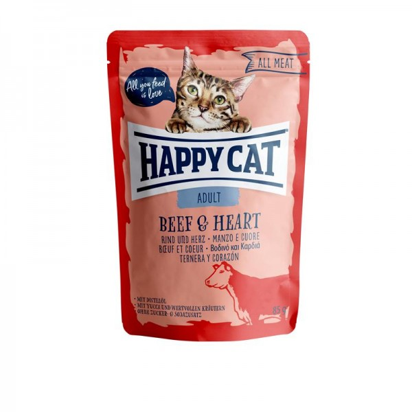 HappyCat All Meat Adult Rind & Herz 24x85g