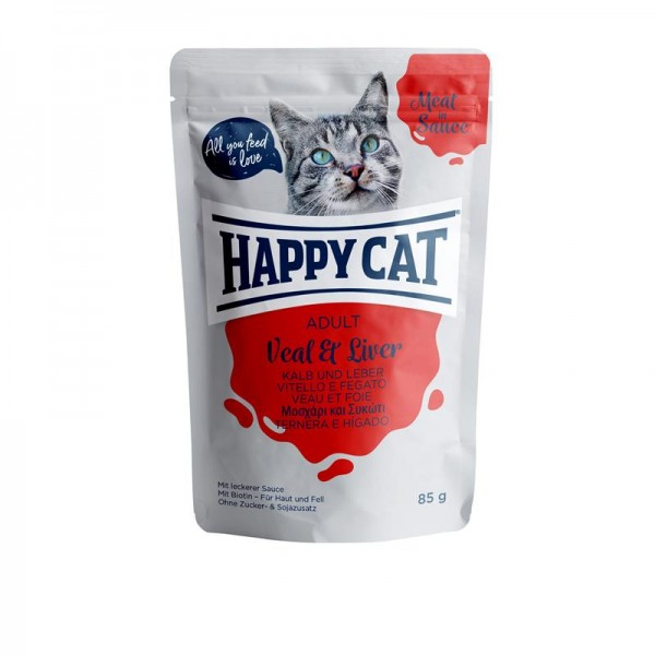 HappyCat Meat in Sauce Adult Kalb & Leber 24x85g