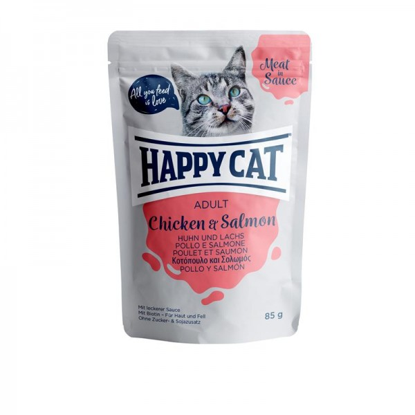 HappyCat Meat in Sauce Adult Huhn & Lachs 24x85g