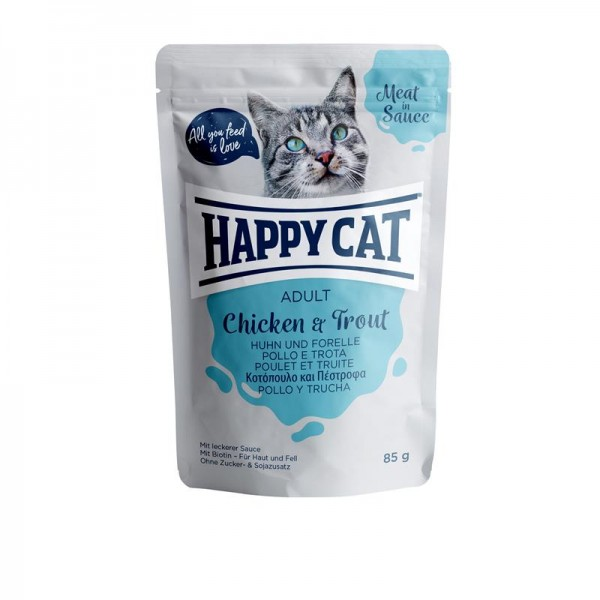 HappyCat Meat in Sauce Adult Huhn & Forelle 24x85g